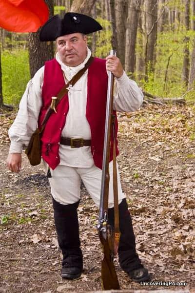 Reenactor at Bushy Run Battlefield in PA
