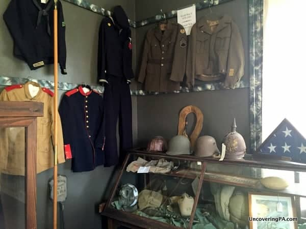 A collection of military memorabilia at the Greene County Historical Society Museum in Waynesburg, Pennsylvania.