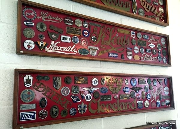 Automobile emblems at the Swigart Museum in Huntingdon PA