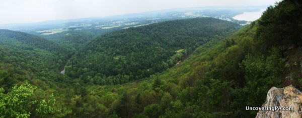 A panoramic look at the view from Hawk Rock Overlook in Duncannon, Pennsylvania.