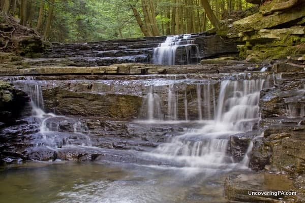 The two smaller falls that make up the third and last waterfall on Fall Brook in Pennsylvania's Salt Springs State Park
