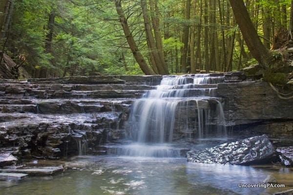 The upper tier of the last waterfall in the Fall Brook Gorge of Salt Springs State Park near Montrose, Pennsylvania