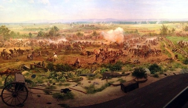 A portion of the Gettysburg Cyclorama on display in the visitor center in Gettysburg, Pennsylvania.