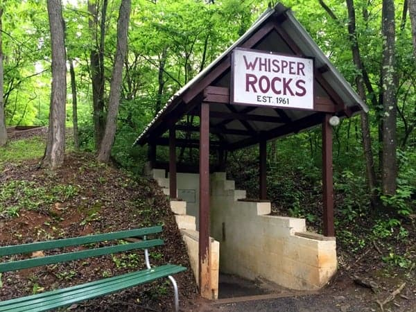 Entranace to Whisper Rocks in Huntingdon, Pennsylvania