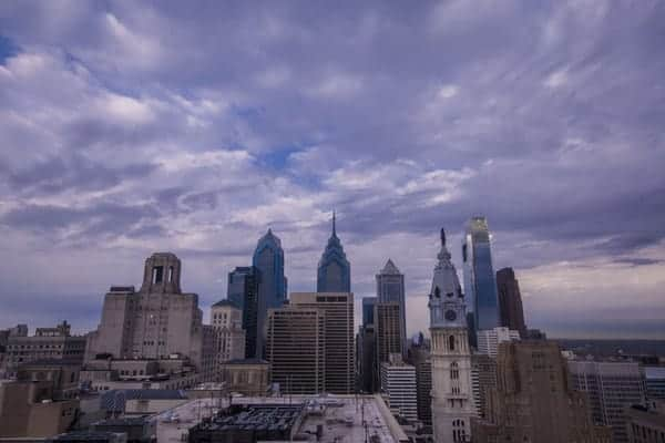 Skyline view from the Loews Hotel in Philadelphia, Pennsylvania