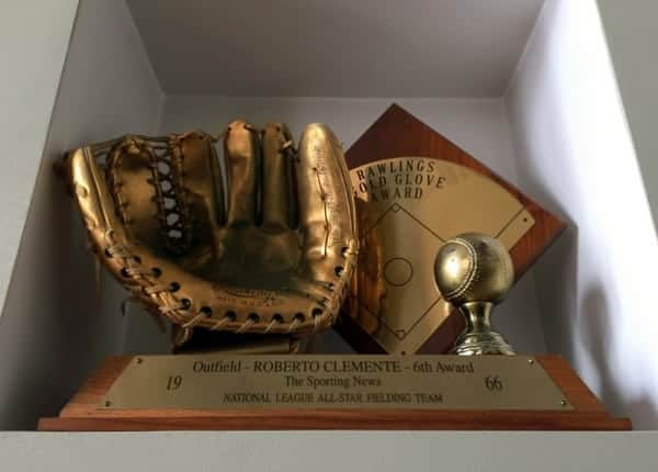 Roberto Clemente Gold Glove Award at the Roberto Clemente Museum in Pittsburgh.