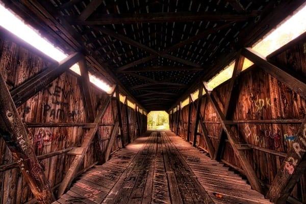 Interior of Kidd's Mill Covered Bridge in Mercer County, Pennsylvania