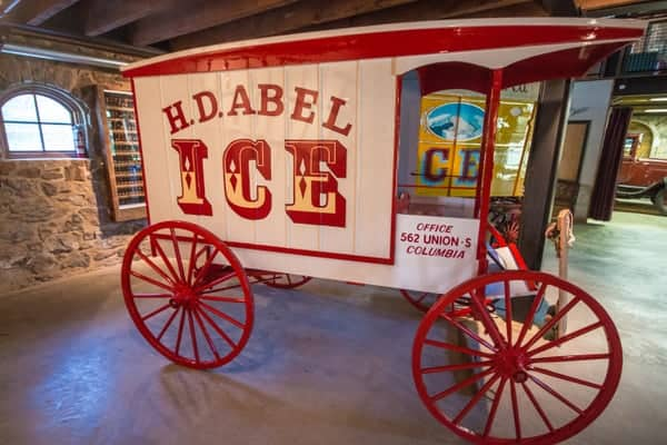 Horse-drawn ice delivery cart at the Antique Ice Tool Museum in West Chester, Pennsylvania
