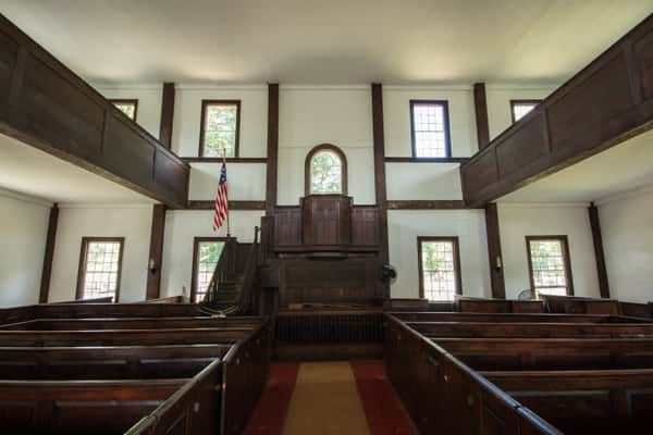 Inside the Forty Fort Meeting House near Wilkes-Barre, Pennsylvania