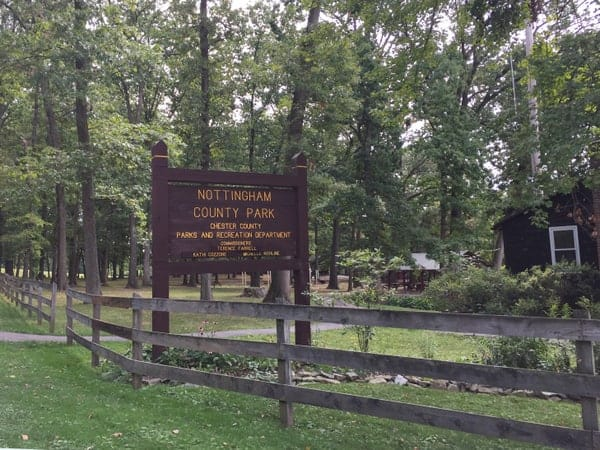The entrance to Nottingham County Park in Nottingham, Pennsylvania.
