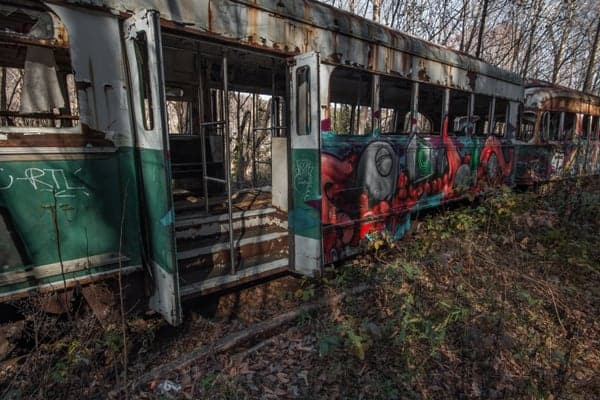 Where is the abandoned trolley graveyard in Pennsylvania