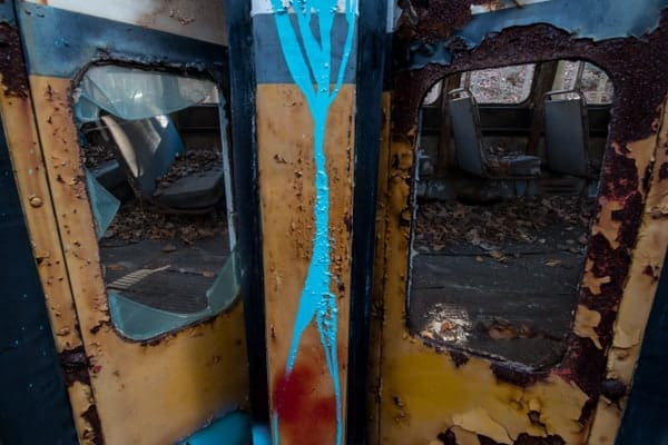 Inside the streetcars at the Abandoned Trolley Graveyard in the Allegheny Mountains of Pennsylvania
