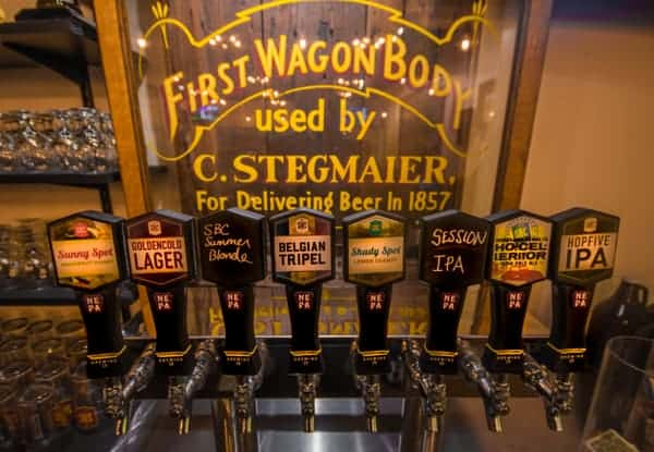 Visiting the tasting room at Susquehanna Brewing Company in Pittston, Pennsylvania