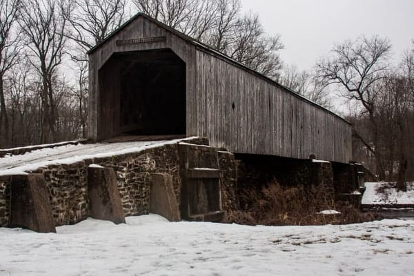 Schofield Ford Covered Bridge in Tyler State Park in Bucks County, PA