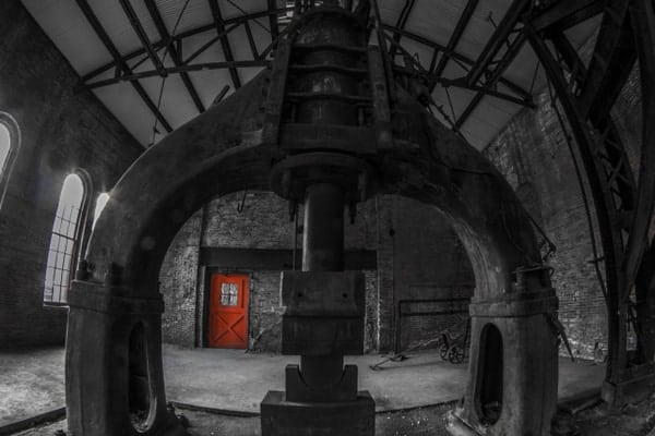 Inside the Blacksmith Shop at the abandoned Cambria Iron Works in Johnstown, PA.