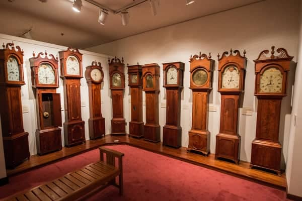 Grandfather clocks at the Chester County Historical Society Museum in West Chester, Pennsylvania