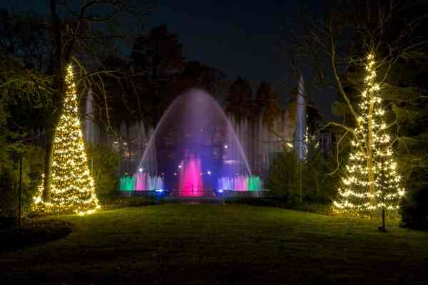 Fountain at Christmas at Longwood Gardens near Philly