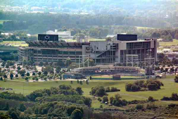 Beaver Stadium as seen from Mount Nittany's Mike Lynch Vista