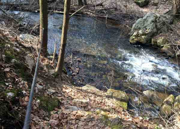 Crossing Roaring Run on the Jarrett Trail