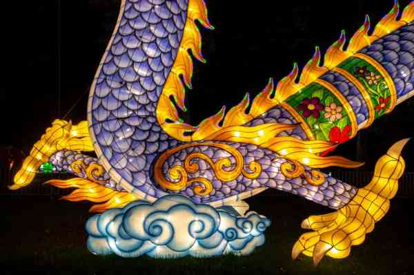 A close-up shot of the dragon lantern at the Chinese Lantern Festival in Philadelphia, PA