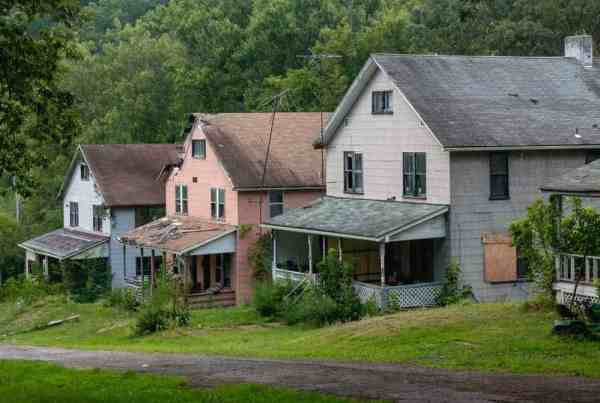 Row of abandoned homes at Yellow Dog Village in northwestern Pennsylvania