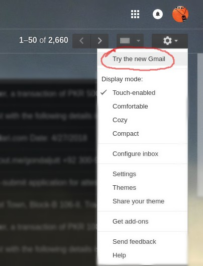 Enable New GMAIL