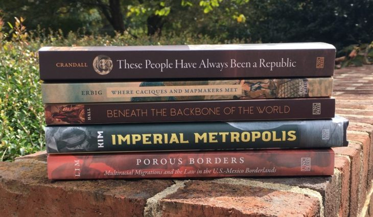 """These People Have Always Been a Republic"" by Maurice Crandall  ""Where Caciques and Mapmakers Met"" by Jeffrey Erbig  ""Beneath the Backbone of the World"" by Ryan Hall  ""Imperial Metropolis"" by Jessica Kim  ""Porous Borders: Multiracial Migrations and the Law in the U.S.-Mexico Borderlands"" by Julian Lim"
