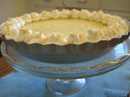 Karen Barker\'s Key Lime Coconut Pie with Rum Cream