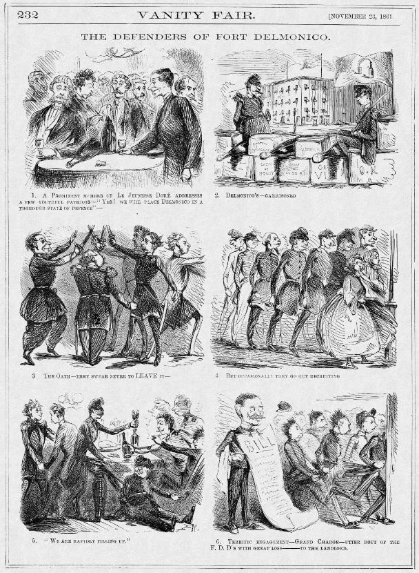 "Cartoonists for New York-based Vanity Fair enjoyed ridiculing the local elites who paraded around in uniforms but spent much for their time dining at the city's fashionable Delmonico's restaurant. This series of six drawings plays on the idea that these faux soldiers are engaged in defending ""Fort Delmonico,"" down to the ""Grand Charge"" at the end of the evening. Vanity Fair, November 23, 1861, 232. Courtesy of HarpWeek."