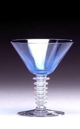 "Cocktail glass with ""Walpole"" pattern and ""straw"" shaped stem, patented 1933, Morgantown Glass Works, glass, blown, cased filament, Dallas Museum of Art, 20th-Century Design Fund"