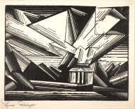 "Lyonel Feininger, ""Mansion at the Beach,"" 1921, woodcut, Dallas Museum of Art, gift of Stuart Gordon Johnson by exchange; General Acquisitions Fund; and The Patsy Lacy Griffith Collection, gift of Patsy Lacy Griffith by exchange, 2003.42.1, © Artists Rights Society (ARS), New York/VG Bild-Kunst, Bonn"