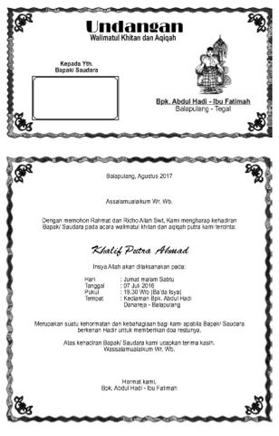 Undangan Walimatul Khitan Dan Aqiqah Khalif Undadown