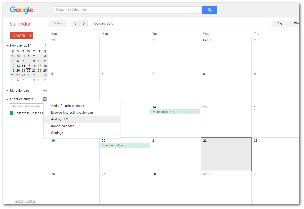 how to add url to google calendar app