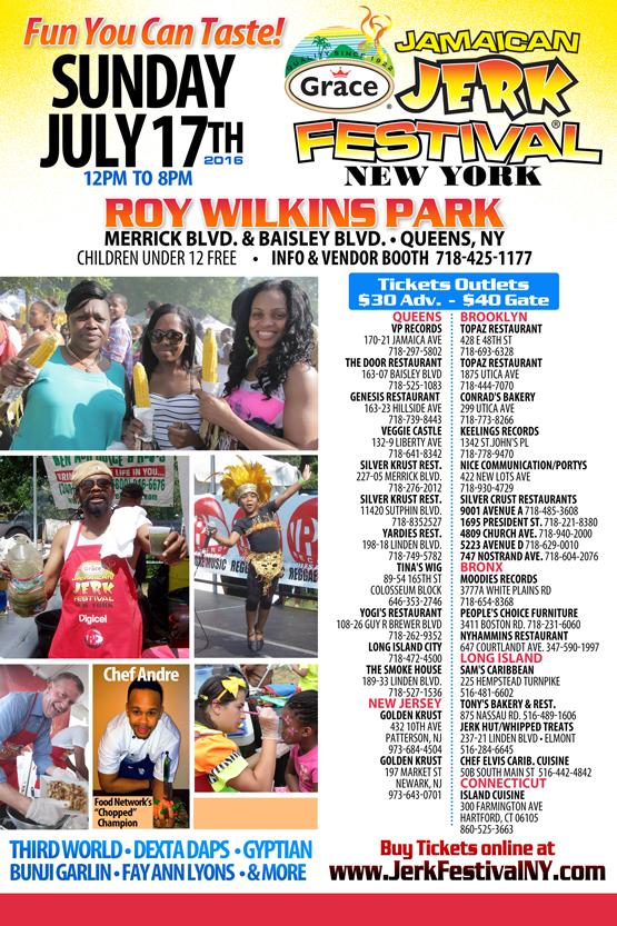 Grace Jamaican Jerk Festival 2016 - Sunday July 17th 2016