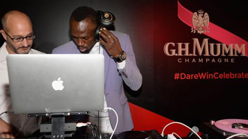 Didier Mariotti and Usain Bolt Mumm DJ Battle