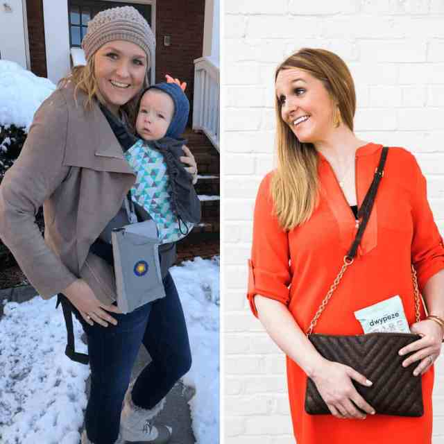 two-images-side-by-side-of-the-same-mom-with-her-favorite-diaper-bag-alternatives-one-side-she-is-wearing-a-baby-in-a-tula-wrap-with-bratpack-diaper-bag-hanging-from-tula-in-the-other-she-is-holding-a-queorkz-purse-with-dwypeze-diaper-bag-sticking-out-the-top