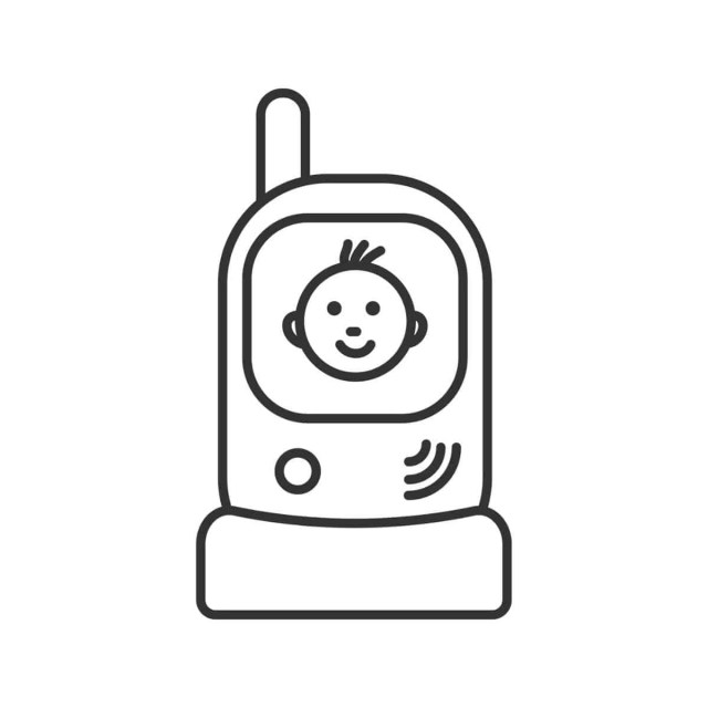 cartoon image of a baby monitor with smiling baby face