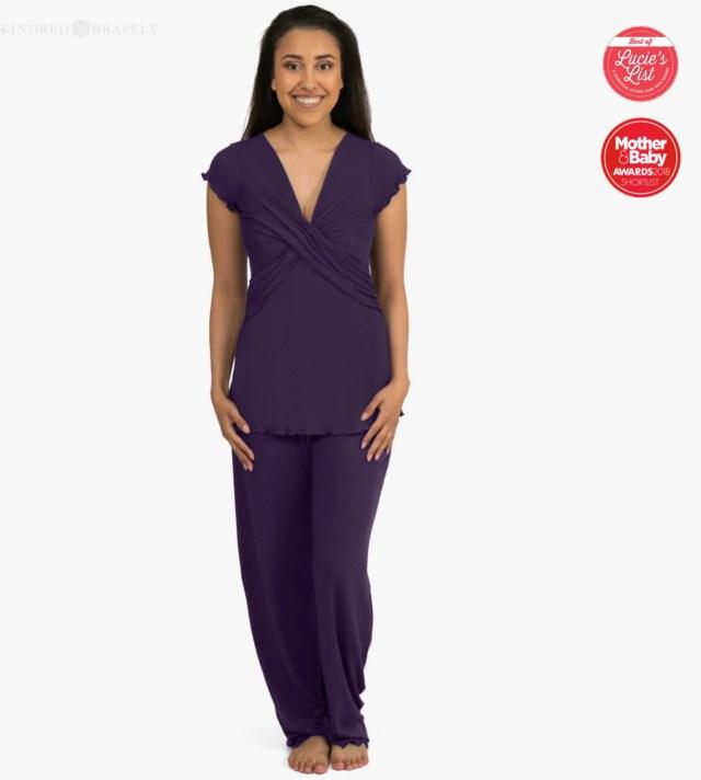 woman wearing purple nursing pajamas