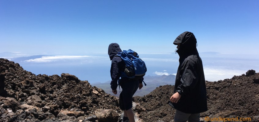 High altitude volcano hiking with my kids