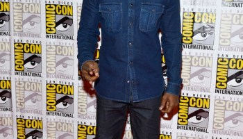 3847030e1db Jamie Foxx wearing Denim Gucci Button Down Shirt and Nylon High-Top Sneakers