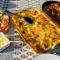 Grillad skinkstek i skivor och potatisgratäng!