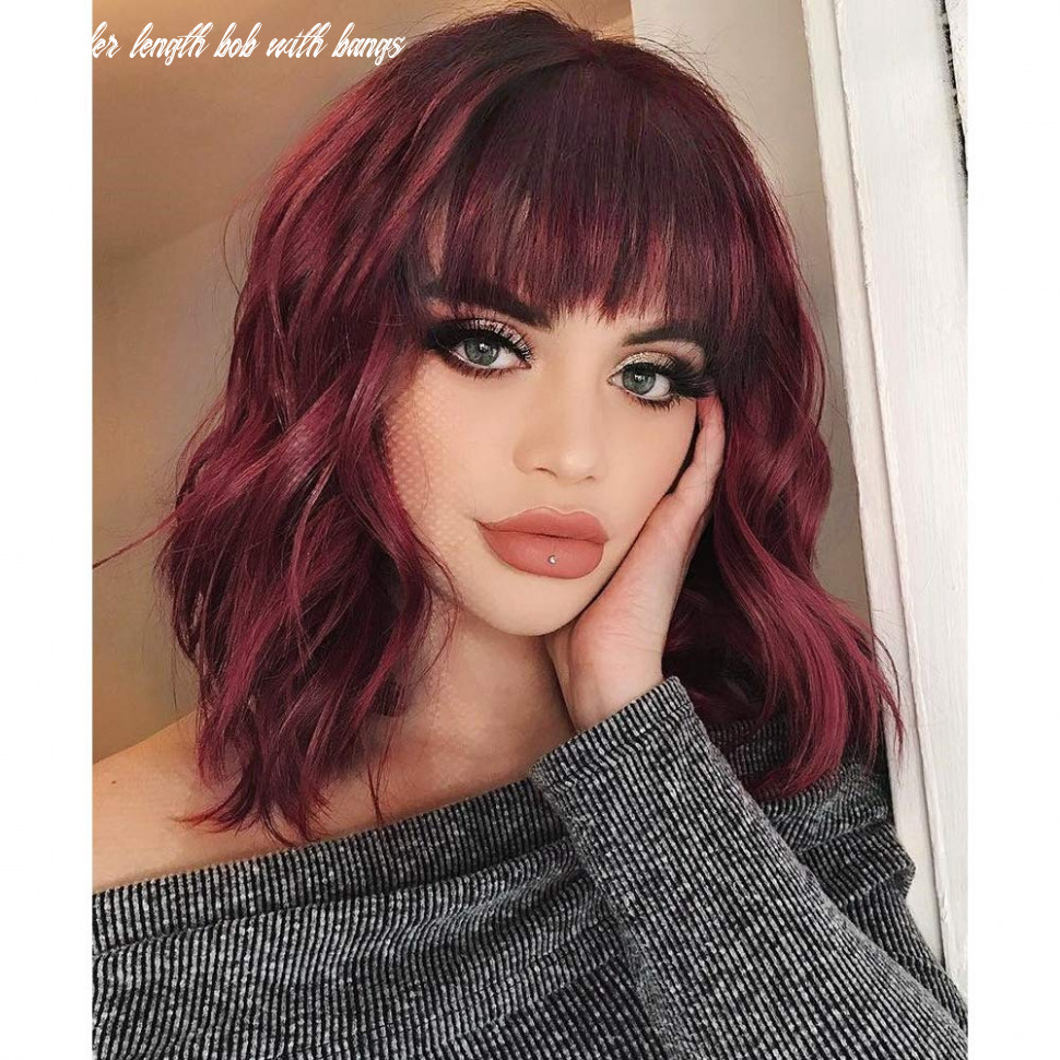 AISI HAIR Synthetic Curly Bob Wig with Bangs Short Bob Wavy Hair Wig Wine  Red Color Shoulder Length Wigs for Women Bob Style Synthetic Heat Resistant  ...