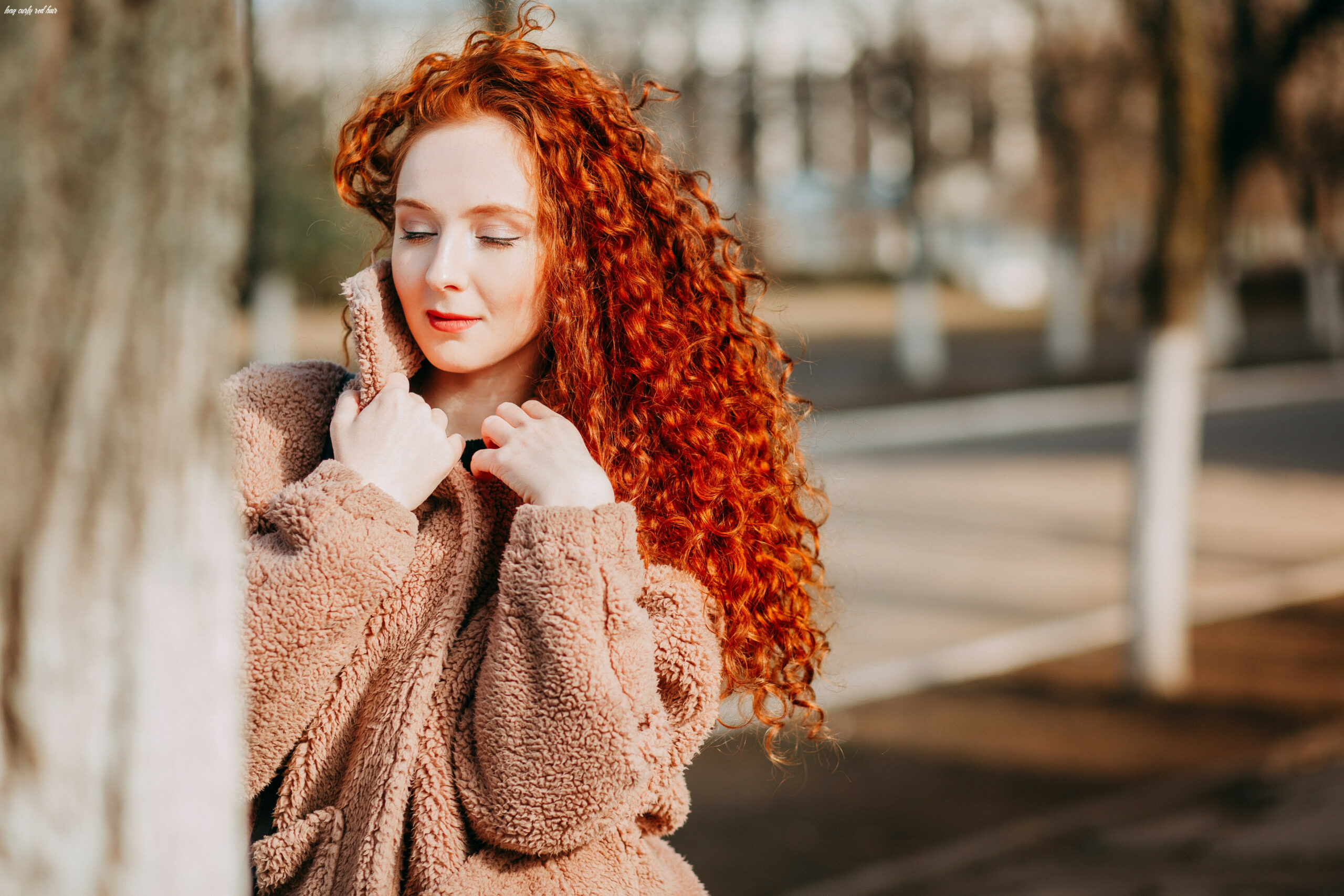 Long Curly Red-haired Woman Wearing Brown Fleece Coat · Free Stock ...