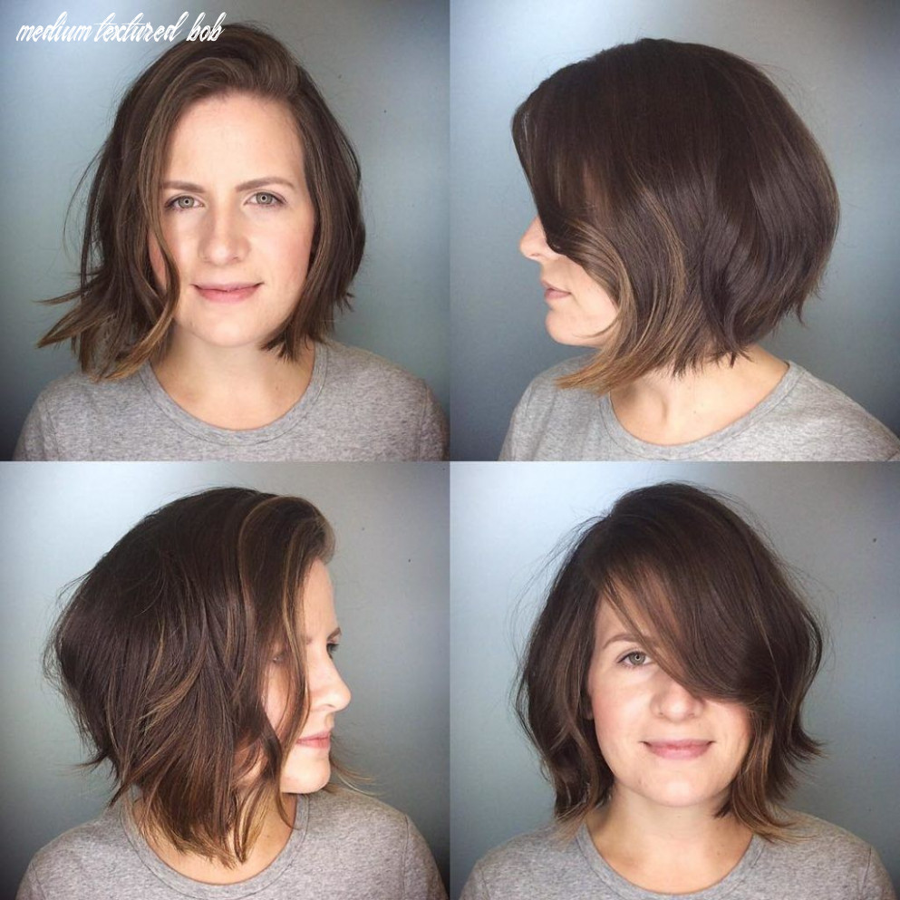 Messy Brunette Textured Bob with Side Swept Bangs and Soft ...