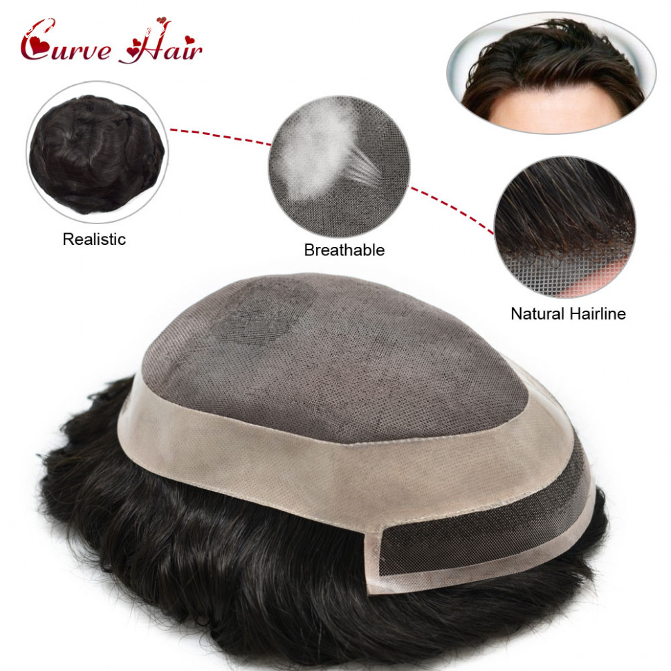 US $11.11 |Fine Mono Mens Toupee Human Hair All Hand Tied Mono Hairpiece  Medium Density Wig For Men Durble Black Hair Replacement System|Toupees| -  ...