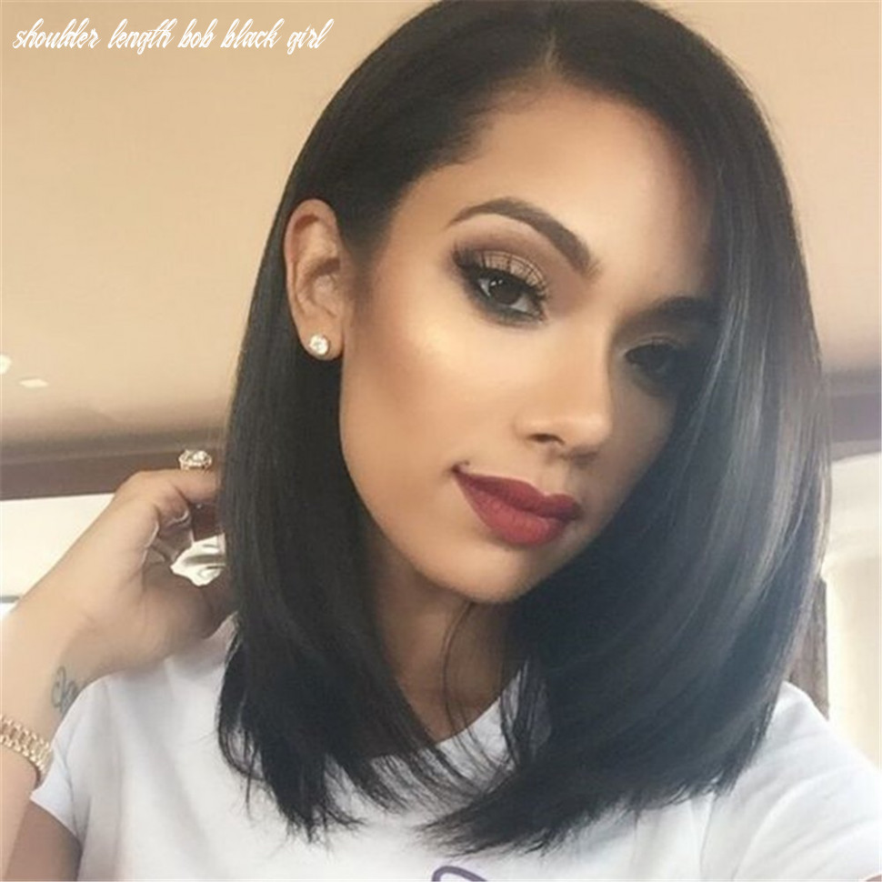 YOPO Short Bob Wig Synthetic Anime Straight Wig Natural Looking Middle Part  Shoulder Length Hair wigs for Women(Black)