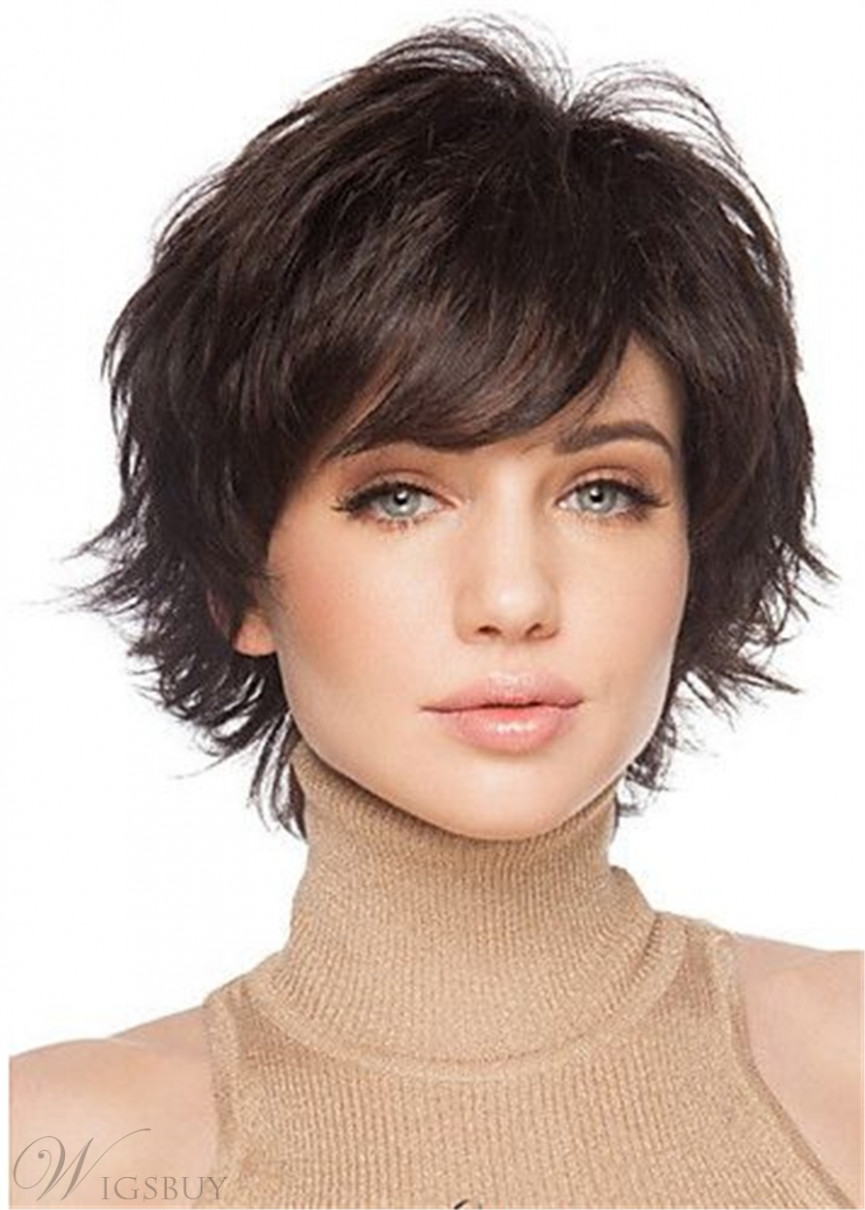Cute Short Hairstyle Human Natural Straight Women Wig 9 Inches