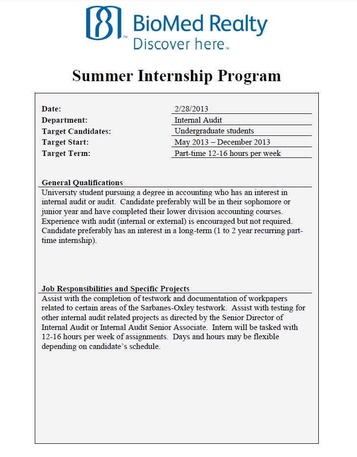 biomed realty summer internal audit internship opportunity