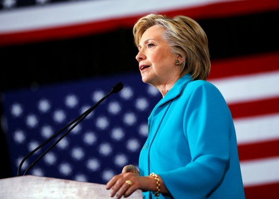 Hillary Clinton giving a campaign speech in Reno, Nevada. (Source: Aaron P. Bernstein/Reuters)