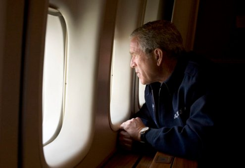 George W. Bush overlooks the damage in Katrina from Air Force One. White House photo by Paul Morse